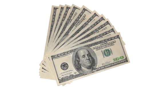 A fanning of one hundred dollar bills.