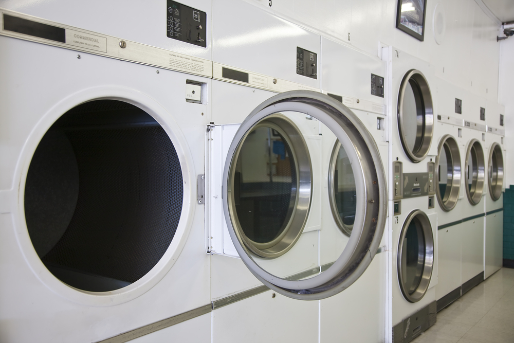 The inside of a laundromat.